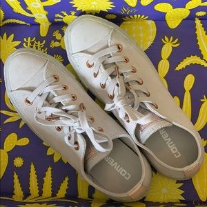 Suede White & Rose Gold Converse